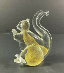 Clear Glass Squirrel With Yellow Spots Inside Statue Figurine - 5.25 Tall
