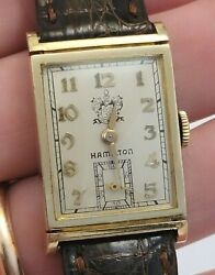 Extremely Rare 1945 Hamilton Watch Co. Employee Award Gilbert Solid 14k Works