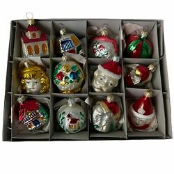 Vintage West Germany Christmas Frosted Glass Ornaments Brand New Old Stock 12 Pc