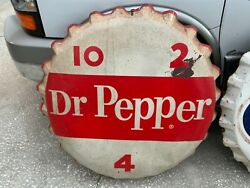 Dr. Pepper Bottle Cap Sign 38 X 36 X 4 Very Rare Large Made In Usa
