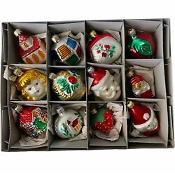 Vintage West Germany Christmas Frosted Glass Ornaments 12 Pc