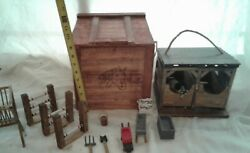 Handmade 2 stall horse barn in a wooden box with accessories schleich horse