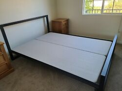 Room And Board Queen Size Bed Frame With Headboard In Natural Steel