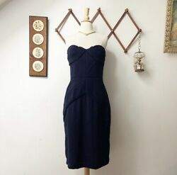 Nwt Prorsum Navy Textured Strapless Silk Dress Ribbed Fitted Sz 44 Us M