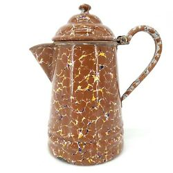 Antique Enamelware Coffee Pot End Of Day Makers Mark Stamp Exquisite Veined Rare