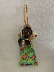 Vintage Christmas Ornament Angel African American Girl W Sea Shell Wings