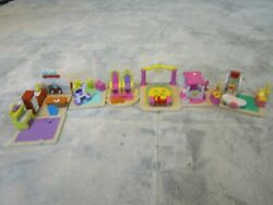 Vintage 1995 Galoob L.G.T.I. My Pretty Dollhouse Small Mini House Lot of 7 Rooms