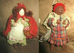 Holiday Little Red Riding Hood And Wolf Plush Ornaments Christmas Decoration