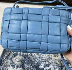 NWT $79.90 ZARA Blue Woven Quilted Genuine Leather Crossbody Bag $49.99