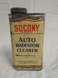 Vintage Rare Socony Auto Radiator Cleaner Can W/ Product