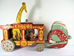 Century Boat Co. Elephant Pull Moving Painted Wood Toy Circus Wagon Giraffe Lion
