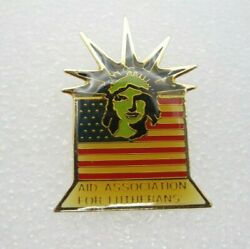 Aid Association For Lutherans Statue Of Liberty Us Flag Lapel Pin A76
