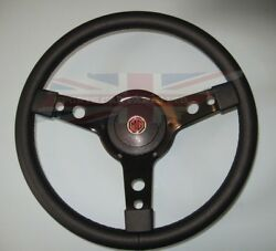 New 14 Leather Steering Wheel And Adaptor Mg Midget 1970-78 And Mgb 1970-77 Black