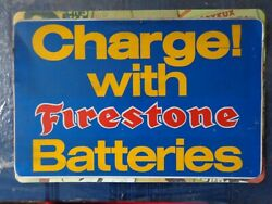 Vintage Charge With Firestone Batteries Single Sided Tin Advertising Sign