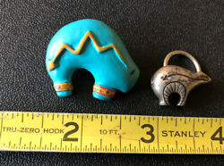 Vintage Silver Tone Southwestern Bear Lot Brooch And Misc