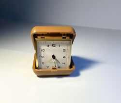 Vintage Westclox Alarm Clock Folding Hard Case Wind Up Selling As Is For Parts