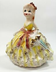 Vintage Southern Belle Girl Figurine Yellow Dress With Parasol