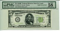 Fr 1952-h 1928b 5 Federal Reserve Note Pmg 58 Choice About Unc Light Green Seal