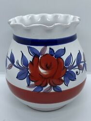 Hand Painted Italian Pottery 8quot; Vase Signed $14.99