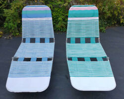 2 Vintage Matching Folding Chaise Lounges Plastic Tube Lawn Beach Chairs Retro