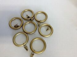 7 Pottery Barn Large Brass Window Curtain Hanging Rings Rod Mounting W/ Clips