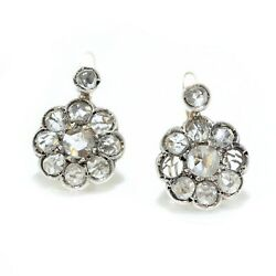 Victorian 15kt Gold And Sterling Silver Ladies Clip-on Earrings With Diamonds