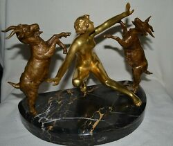 C.1920's France Art Deco Large Bronze Nude Kneeling Girl Playing With Goats