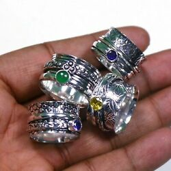 2000 Pcs Mix Gemstone Spinner Silver Plated Spinning Ring For Meditation M085