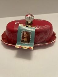 New Pioneer Woman Red Butter Dish Stoneware New Collector Rare Gift Free Ship