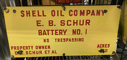 Vtg Antique Shell Oil Company Gas Corp Porcelain Lease Oilfield Well Sign A