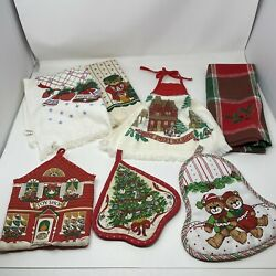 Vintage Cannon Christmas Dish / Hand Towel And Hot Pads 7 Pc - Holiday Towels
