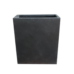 26.8 In. Tall Charcoal Lightweight Concrete Modern Long And High Rectangle Plant