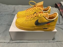 Nike Air Force 1 Off White University Gold Virgil Ica Size 10