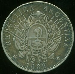 Argentina Silver Coin 1 One Peso Patacon 1882 Crown / Dollar Size Vf Cond.