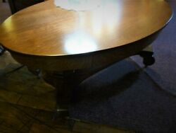 Antique Oak Coffee Table Oval Top Drawer Quarter Sawn Oak 1900and039s 42 Library
