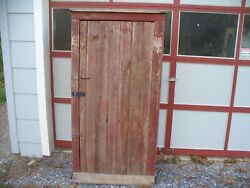 Antique Primitive Old Red Painted Farm Cupboard Cabinet Country Rustic Barn