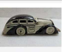 Vintage Marx Toys Tin Tricky Taxi Wind Up Car Not Working No Key Black And White
