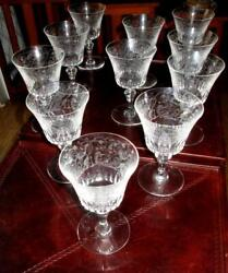 11 Baccarat Parme 3 Red Wine 5.5andrdquo Birds Of Paradise And Seahorses