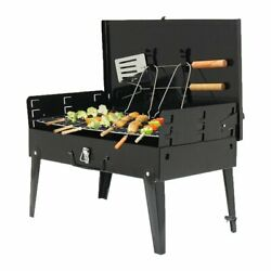Bbq Grill And Utensils Outdoor Garden Folding Portable Barbecue Picnic Camping