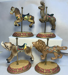 Set Of 4 The Golden Age Of The Carousel Figurines  Goat/ Horse/ Deer/ Lion