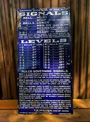 Colorado State Code Mine Bell Signals Stonehouseporcelain Metal Sign Ca 1910