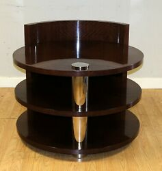 Stunning Mahogany Drum Brown Side Table With Two Tier And Metal Central Support