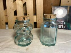 Lot Of 2 Blue Tinted Glass Apothecary Jars With Cork Lids