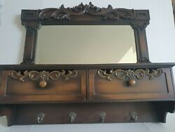 Solid Wood Hall/foyer Two Draw With Mirror Hat Key Kane Hooks Vanity
