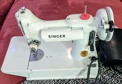 Vintage 1960s Singer 221 White Featherweight Portable Sewing Machine W/case
