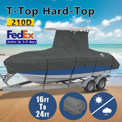 210d 16-24ft Heavy Duty Center Console T-top Roof Boat Cover Storage Waterproof.