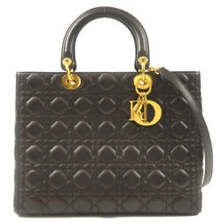 Authentic Christian Dior Cannage Lady Dior Leather 2way Bag Dark Brown Used F/s
