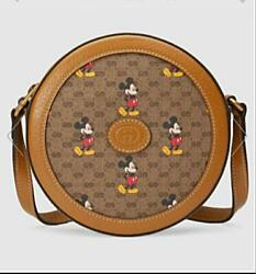 Disney Mickey Mouse Gg Supreme Canvas Leather Round Shoulder Bag New