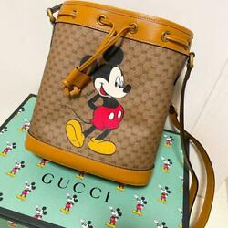 Disney Mickey Mouse Collaboration Shoulder Bucket Bag Leather Limited New