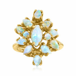 C. 1970 Vintage Opal Cluster Ring In 14kt Yellow Gold. Size 6.5